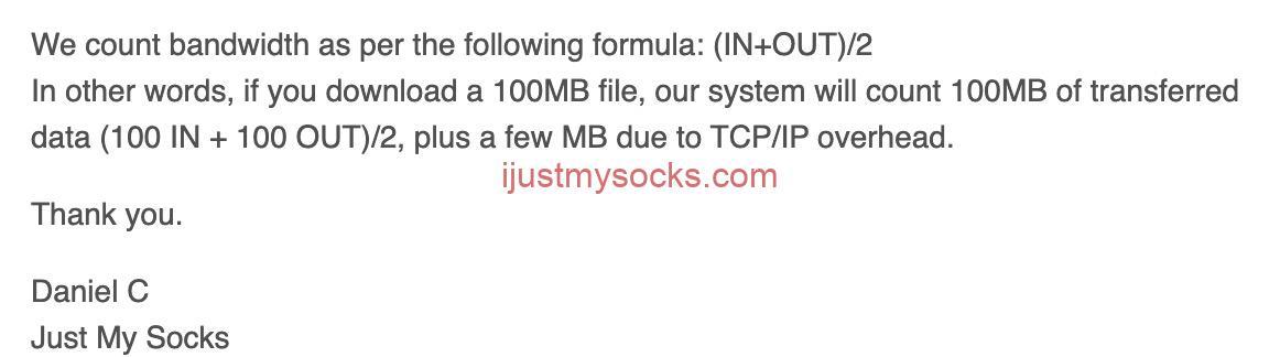 Just My Socks 流量计算方式